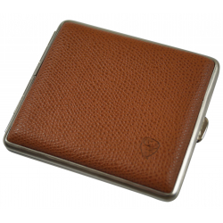GERMANUS Cigarette Case Metal with Calf Leather Application - Made in Germany - Design Brown Sand