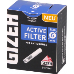 Gizeh Pipefilter Charcoal - 6 mm - 34 pieces