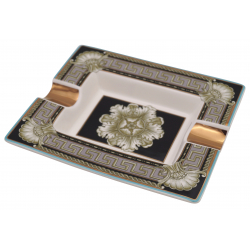 GERMANUS Zigarrenascher aus echtem Porzellan - Goldene Rose