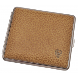 Cigarette Case Metal with Calf Leather Application - Made in Germany - Design Scottish Sand