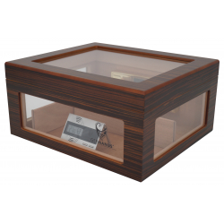 Humidor Chest Oro with Windows on Side Dark Black Brown 004