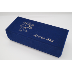 Ars Aurea pipe box with felt cover and pipe bag, blue, red