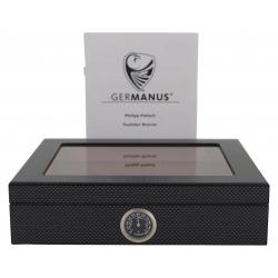 GERMANUS Mensalla Humidor für Zigarren Carbon