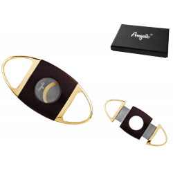Ring 63 Quality Double Blade Cigar Cutter Gold Color in Case