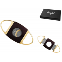 Ring 63 Quality Double Blade Cigar Cutter Gold Color Dark in Case