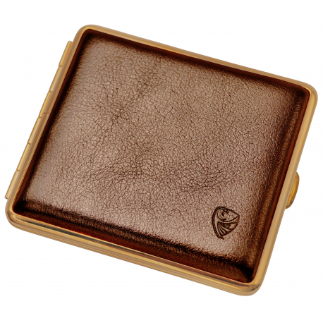 GERMANUS Cigarette Case Metal with Calf Leather Application - Made in Germany - Design Gold Leather