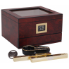 GERMANUS Cigar Humidor Set in Brown with Cutter and Ashtray for ca 75 cigars
